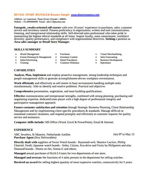 Store Manager Resume Skills by Sle Store Manager Resume 10 Free Documents In Pdf