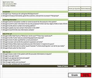 call center quality assurance form template templates With quality assurance spreadsheet template