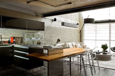 loft kitchen island industrial chic loft features the ideal match between 3840