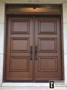 Porte double bois imposte rectangle ⋆ Portatec Fabricant de porte d'entrée sur mesure