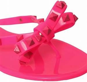 Valentino Rubber Studded Flip Flops in Pink NEON FUCHSIA