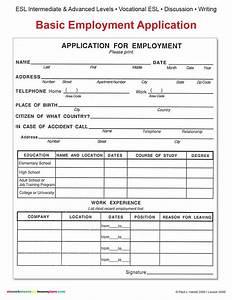 esl basic employment application other files With basic employment application template free
