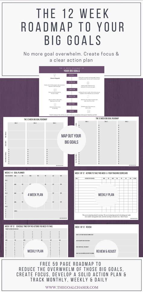 weekly goals 12 week roadmap to your big goals free planner