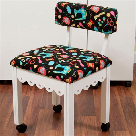 White Sewing Chair  Arrow Sewing Cabinets