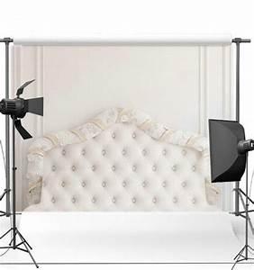 White, Tufted, Headboard, Bedroom, Background, Vinyl, Cloth, High, Quality, Computer, Print, Wedding