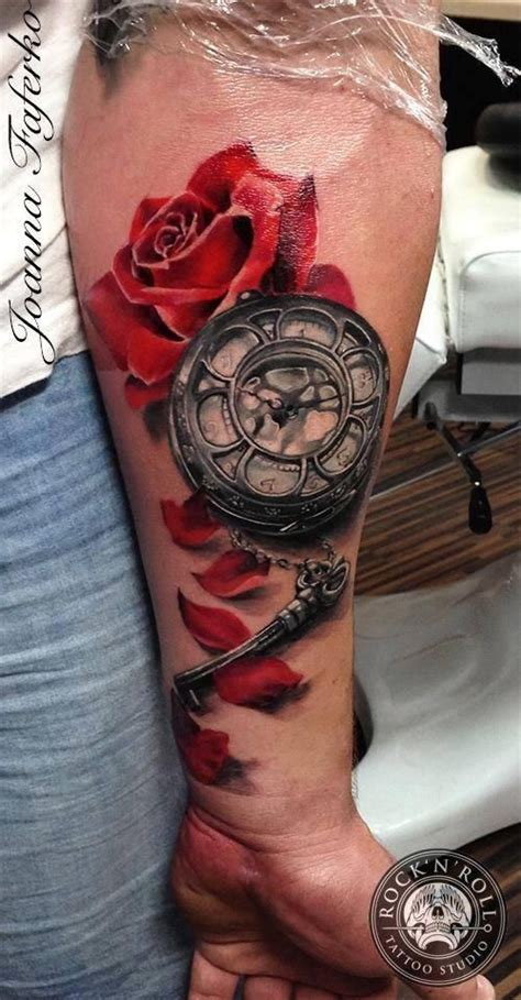 style colored tattoo  red rose  mechanical clock