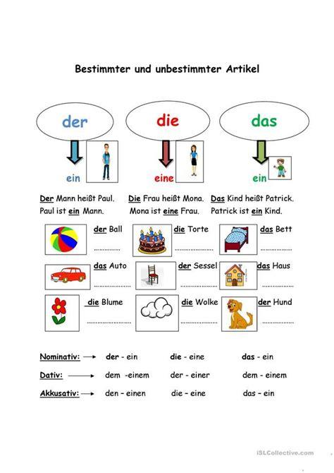 bestimmter und unbestimmter artikel education deutsch