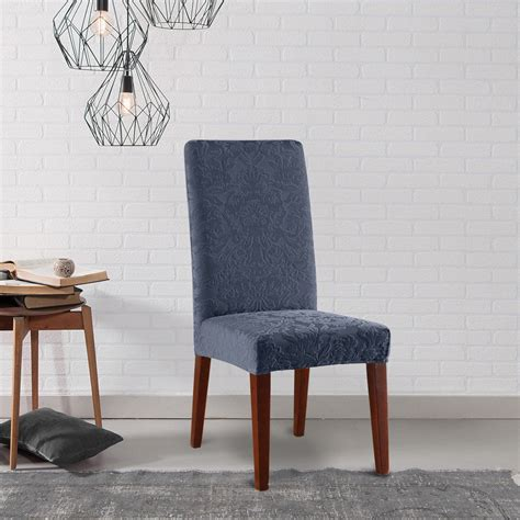 slipcover dining chair sure fit stretch jacquard damask dining room chair
