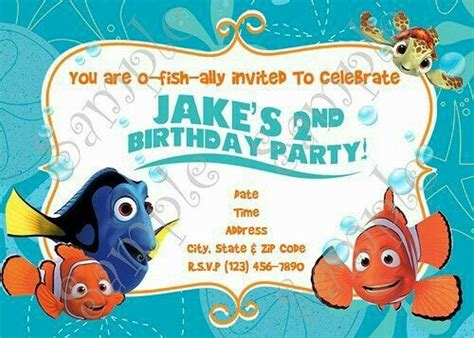Finding Nemo Birthday Invitations Free