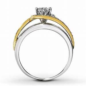 Designer white and yellow gold round diamond engagement for White gold engagement ring with yellow gold wedding band