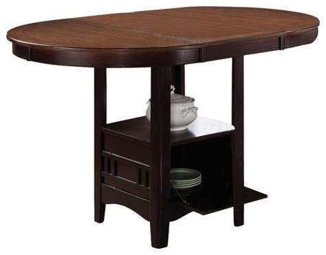 espresso counter height table coaster counter height table in light oak espresso finish