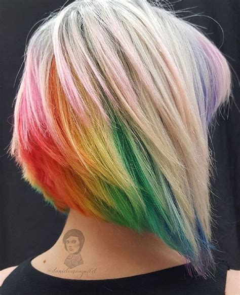 Best 25 Short Rainbow Hair Ideas On Pinterest Rainbow