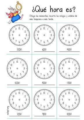 hora es dibuja recorta  ordena en punto
