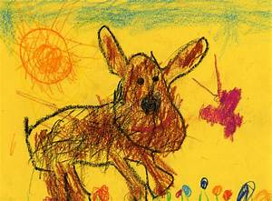 Kids Drawing Of A Dog And Butterfly Stock Illustration ...