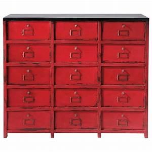 Boite De Rangement Maison Du Monde : cabinet de rangement en m tal rouge l 115 cm vermillon ~ Preciouscoupons.com Idées de Décoration