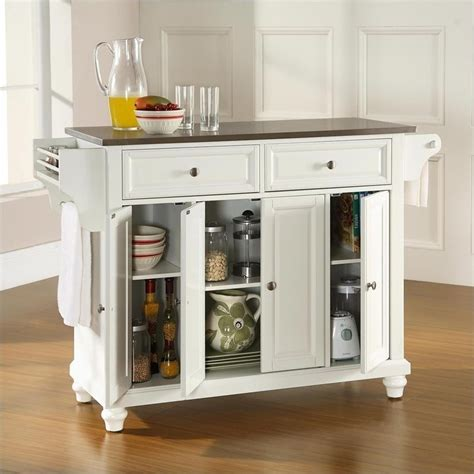 white kitchen island with stainless steel top crosley furniture cambridge stainless steel top kitchen island in white finish kf30002dwh