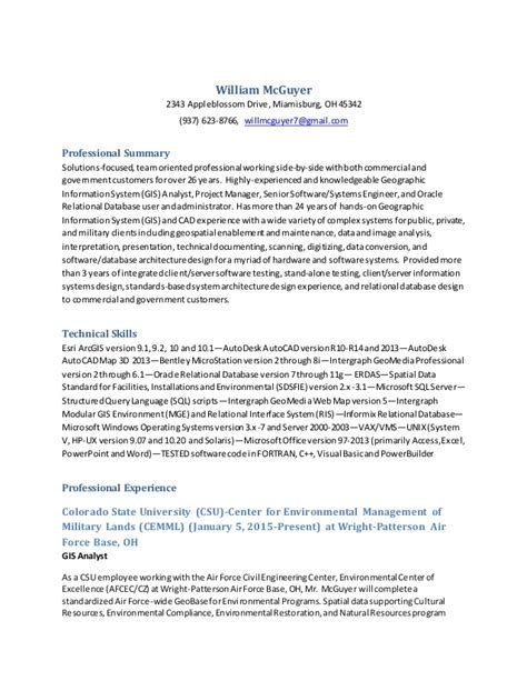william mcguyer gis analyst resume 2015 newest