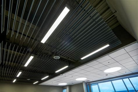 Rockfon Planar Linear Ceilings by Rockfon Miton Office Cafeteria Building Magazine