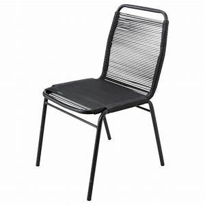 Chaise De Jardin Metal : chaise de jardin en poly thyl ne et m tal noire scoubi ~ Dailycaller-alerts.com Idées de Décoration