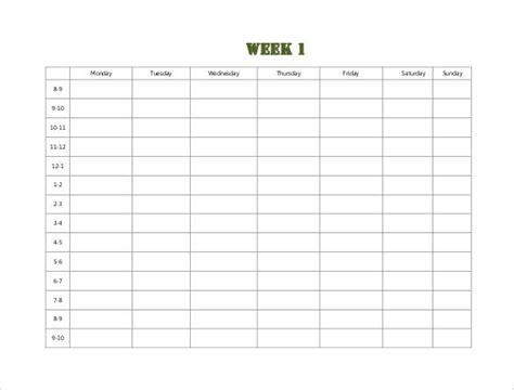 sample weekly schedule templates  google docs