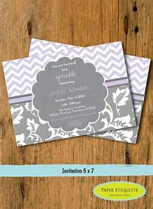 lavender and gray floral chevron sprinkle baby shower With wedding shower invitations print your own