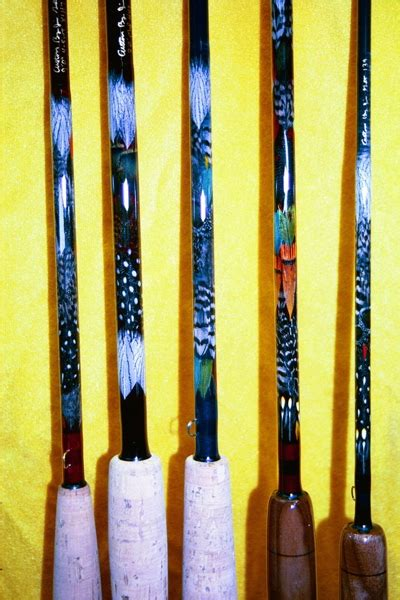 custom built fishing rods  exotic feather designs