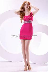 Hot Pink Straps Mini Cocktail Dress:1st-dress.com