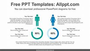 Comparative Donut Chart Powerpoint Diagram Template