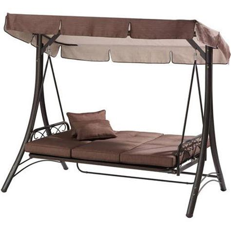 3 Person Porch Swing by Convertible Porch Swing With Canopy Cover Brown Hammock