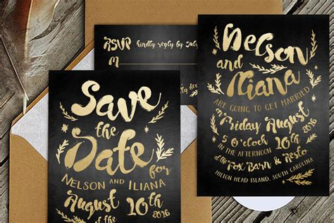 black gold hipster wedding suite wedding templates
