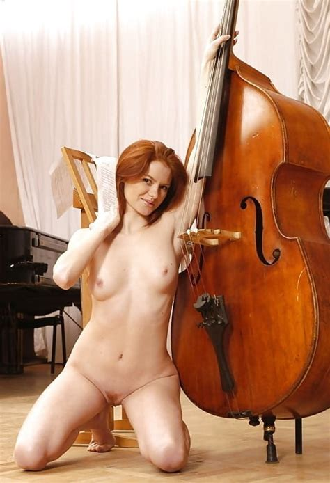 Nude Female Playing Violin Viola Cello Double Bass