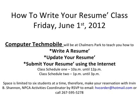 how to write your resume class