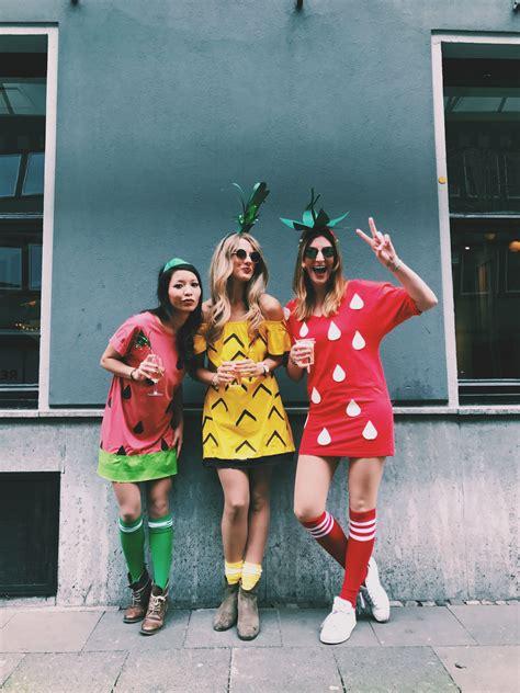karneval kostüm diy tutti frutti karneval diy ananas erdbeere wassermelone kost 252 m three person