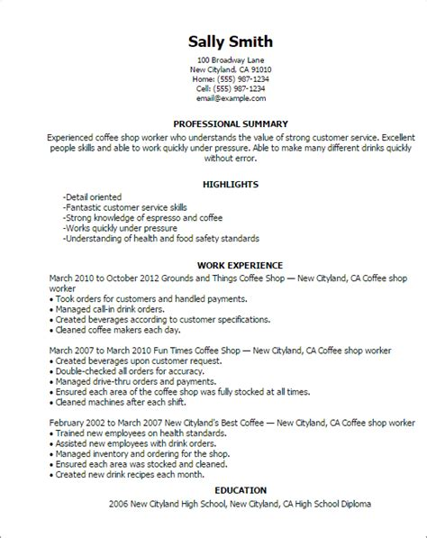 Coffee Shop Assistant Resume by Professional Coffee Shop Worker Templates To Showcase Your