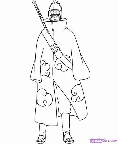 Naruto Kisame Coloring Pages Draw Step Anime