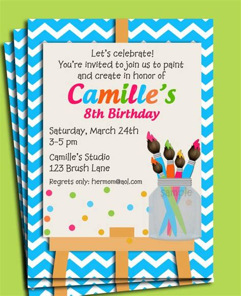 painting art party birthday invitation printable  printed
