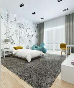 Schlafzimmer Weiß Grau : wohnung farbideen modern schlafzimmer einrichtung weiss grau gelb blaugrau ~ Frokenaadalensverden.com Haus und Dekorationen