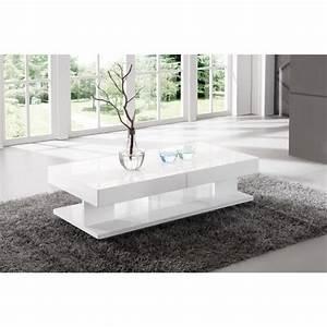 Table Salon Blanc Laqué : table de salon rectangulaire avec rangement blanc laqu achat vente table basse table de ~ Teatrodelosmanantiales.com Idées de Décoration