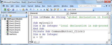 excel vba global variable across worksheet ms excel 2010 vba tutorial declare