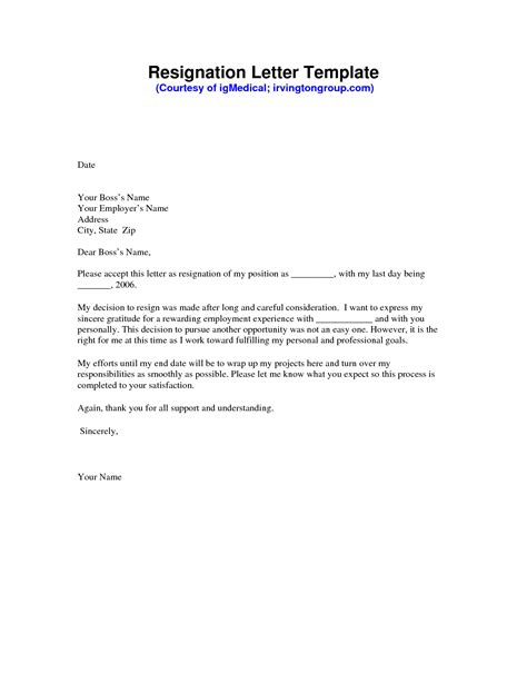 Resignation Letter Sample PDF   Formal resignation letter sample, Resignation template