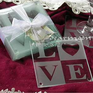 2017 wholesale letters glass coasters wedding gifts love With wedding glass favors wholesale