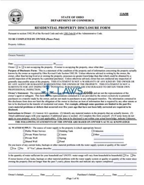 residential property disclosure form ohio forms lawscom