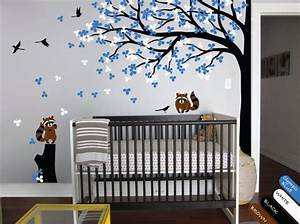 nursery wall tree decal raccoon corner tree mural vinyl With good look big tree decals for walls