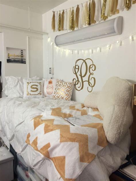 white  gold dorm room university  arizona dorm room