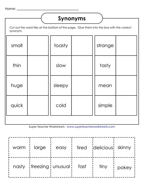 everything education synonyms worksheet projects to