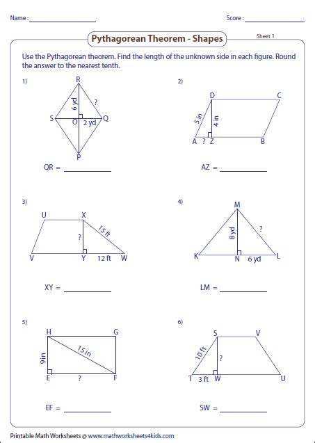 pythagoras theorem worksheet pythagorean theorem