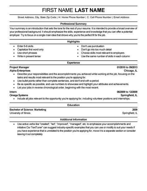 Experience Resume Template by Us Resume Template Livecareer