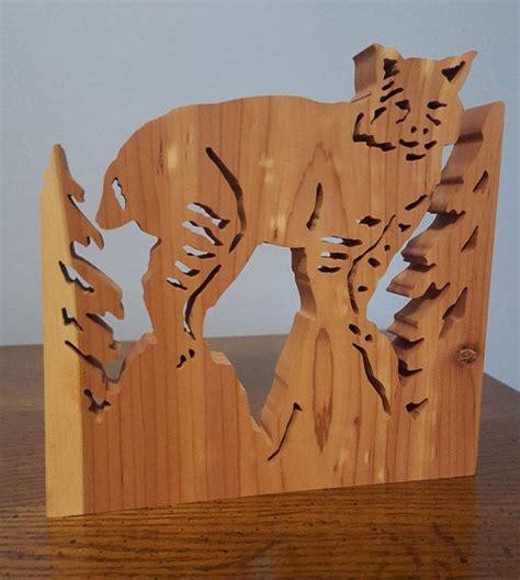 bobcat scroll wooden cedar plaque handmade