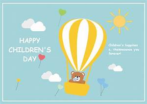 Free Hot Air Balloon Children U0026 39 S Day Card Templates