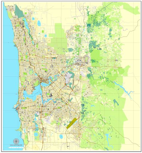 perth australia exact vector street city plan map
